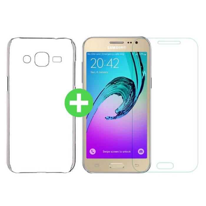 Samsung Galaxy J2 / J200F / J200G Transparentes TPU-Gehäuse + Displayschutzfolie aus gehärtetem Glas