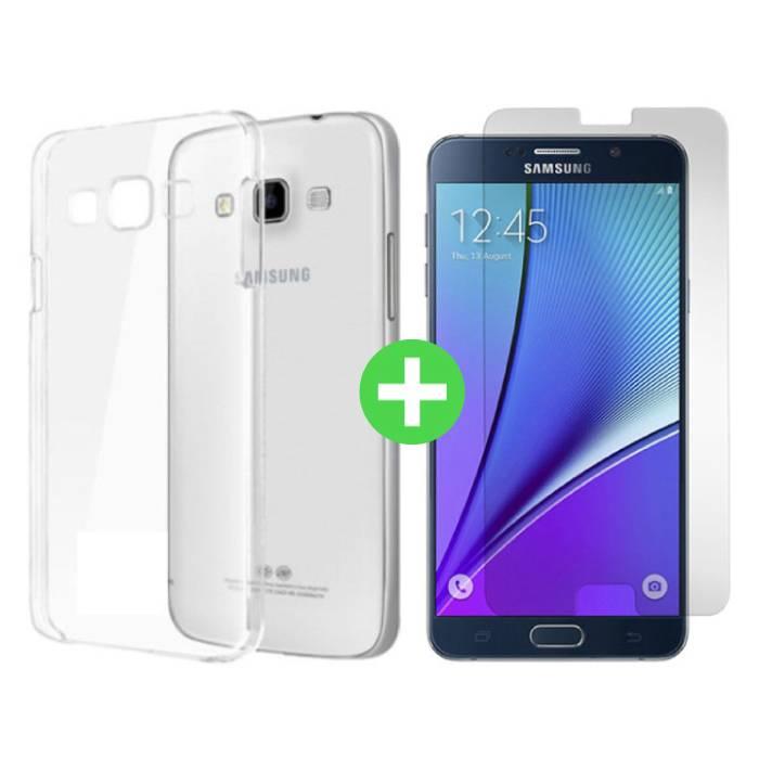 Samsung Galaxy A9 2016 Transparentes TPU-Gehäuse + Displayschutzfolie aus gehärtetem Glas