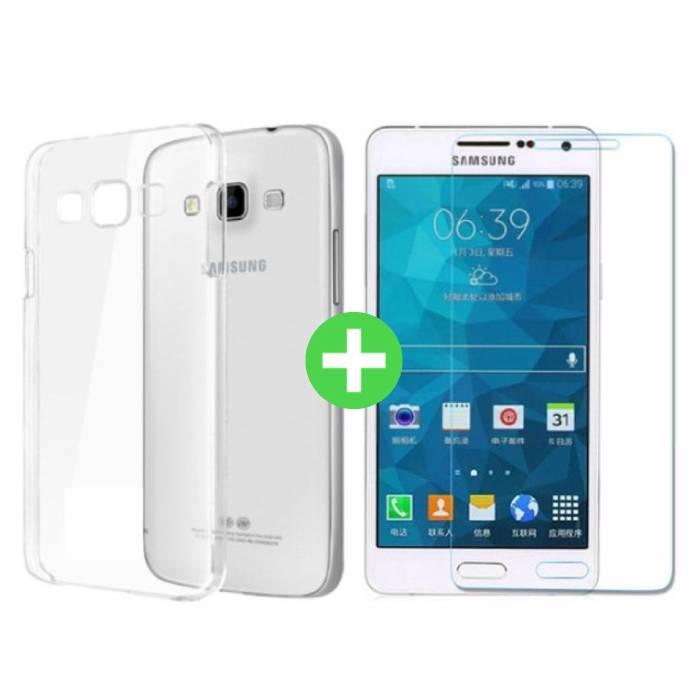 Samsung Galaxy A7 2016 Transparentes TPU-Gehäuse + Displayschutzfolie aus gehärtetem Glas