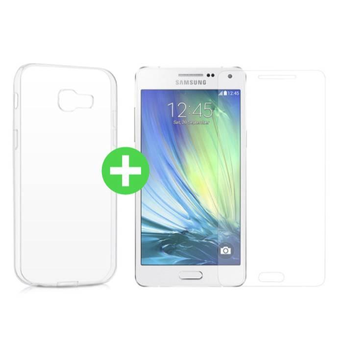 Samsung Galaxy A5 2016 Transparentes TPU-Gehäuse + Displayschutzfolie aus gehärtetem Glas