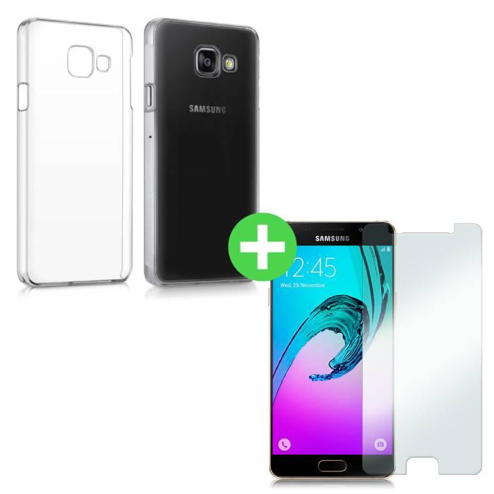 Samsung Galaxy A3 2016 Transparentes TPU-Gehäuse + Displayschutzfolie aus gehärtetem Glas
