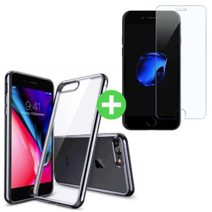 iPhone Plus 8 Transparent écran TPU + protecteur en verre trempé