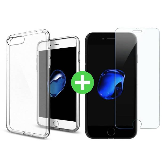 iPhone 7 Plus Transparant TPU Hoesje + Screen Protector Tempered Glass