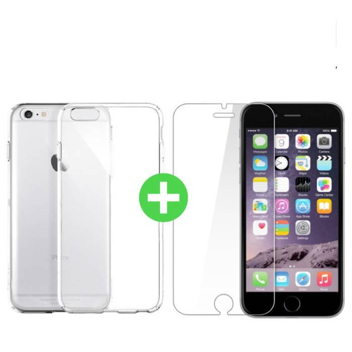 Coque en TPU transparente pour iPhone 6S Plus + Protecteur d'écran en verre trempé