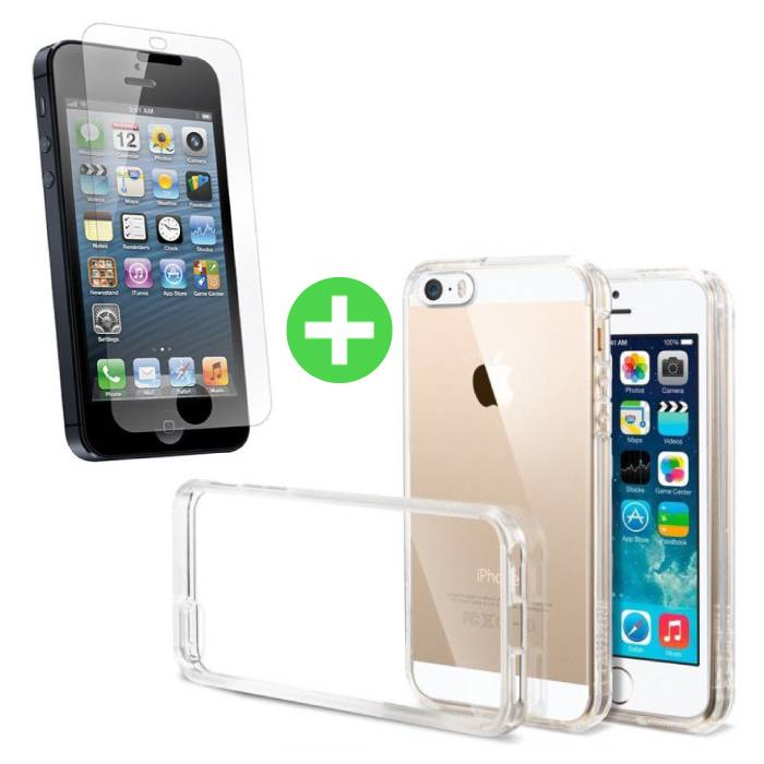 iPhone 5S Transparant TPU Hoesje + Screen Protector Tempered Glass