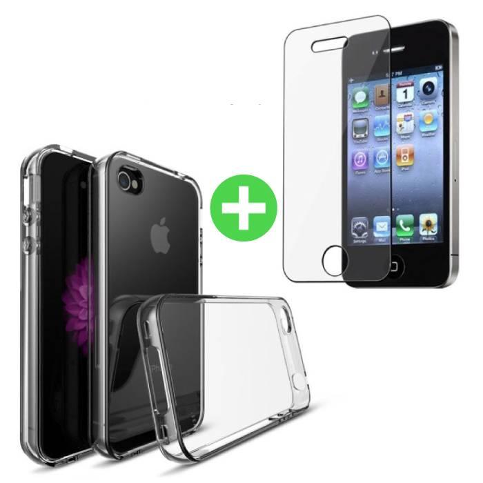 Coque en TPU transparente pour iPhone 4S + Protecteur d'écran en verre trempé