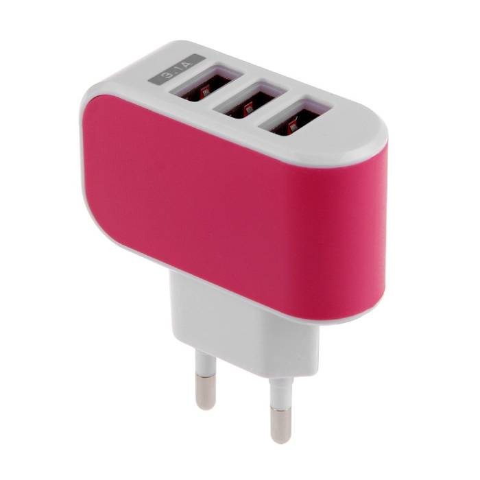 5-Pack  Triple (3x) USB Port iPhone/Android Muur Oplader Wallcharger AC Thuis Roze