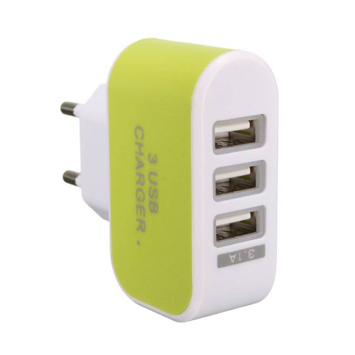 2-Pack  Triple (3x) USB Port iPhone/Android Muur Oplader Wallcharger Groen