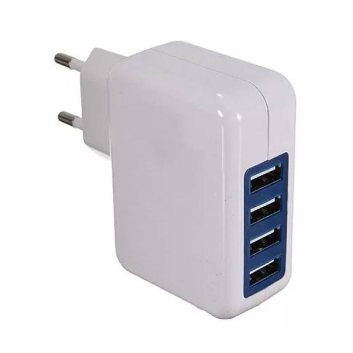 4x Quad Poort USB iPhone/Android 5V - 4A Muur Oplader Wallcharger AC Thuis Wit