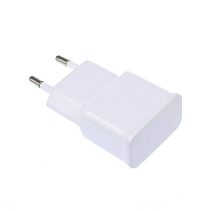 Voor Samsung Stekker Muur Lader 5V - 2A Oplader USB AC Thuis Wit