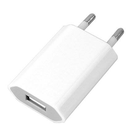 Plug Chargeur mural pour iPhone / iPad / iPod 5V - 1A Chargeur USB AC Home Blanc
