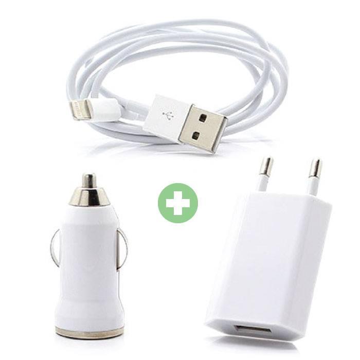 Kit de charge 3 en 1 pour iPhone Câble de charge USB Lightning + chargeur de prise + chargeur de voiture