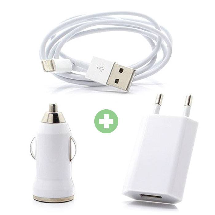 Stuff Certified ® 3 in 1 Charger Lightning iPhone Charging Cable + Socket Charger + Car Charger