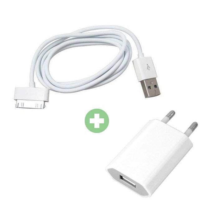 Kit de charge 2 en 1 Câble de charge USB / Câble de données et chargeur de prise / Chargeur mural 1 mètre pour iPhone 4 / 4S