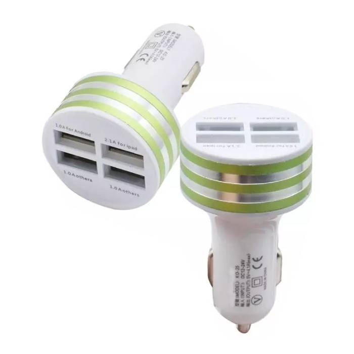High-Speed Quad 4x USB Port Autolader/Carcharger 5V - 4.1A Groen