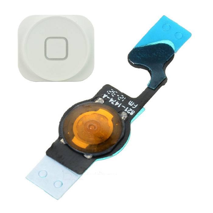 Pour Apple iPhone 5 - Ensemble bouton d'accueil AAA + avec câble flexible blanc