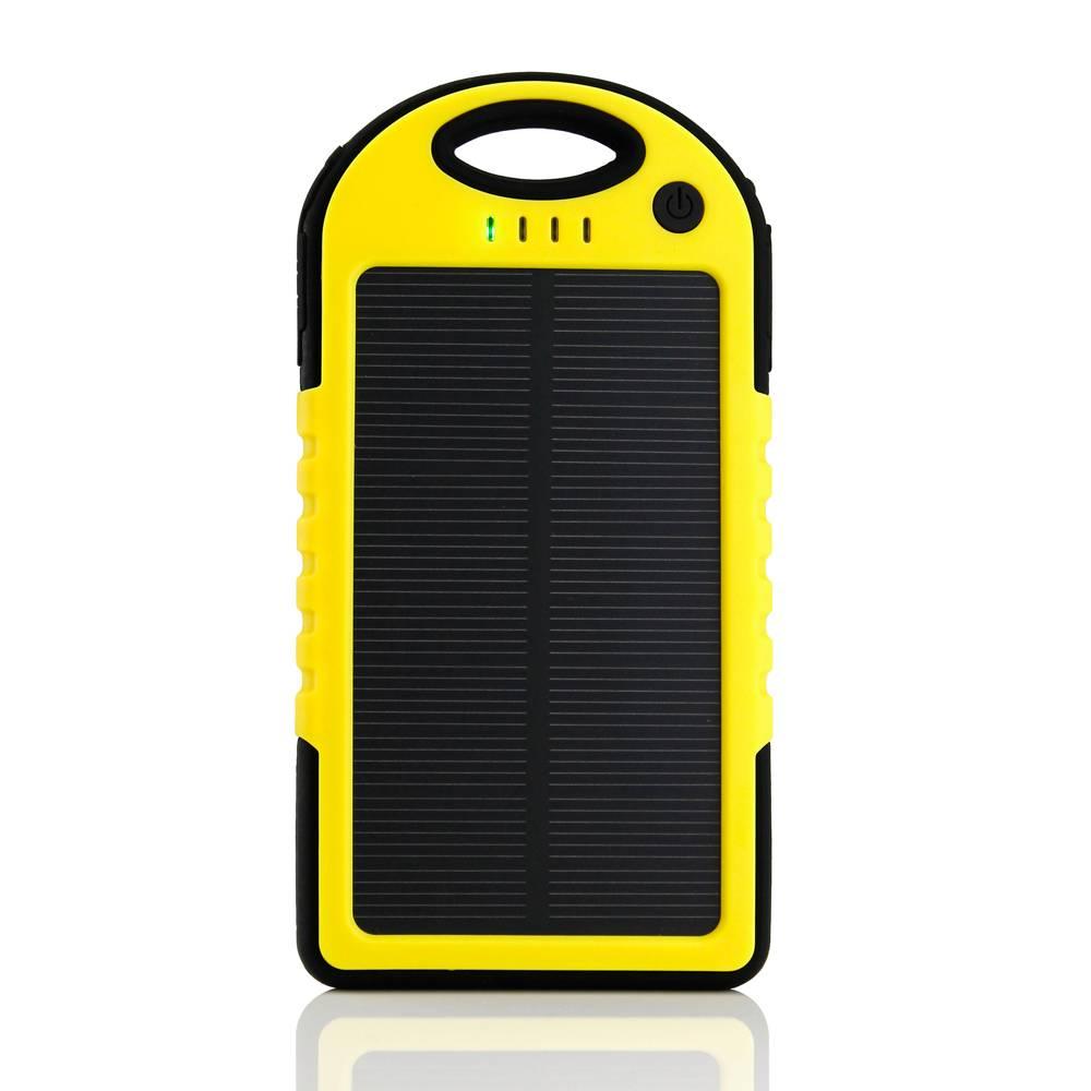 External 5000mAh Solar Charger Power Bank Solar Panel Emergency Battery Charger Sun Yellow
