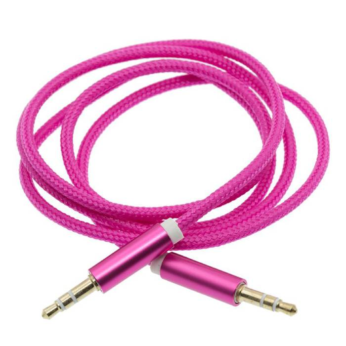 Braided Nylon Aluminum AUX Audio Cable 1 Meter Extra Strong 3.5mm Jack Purple