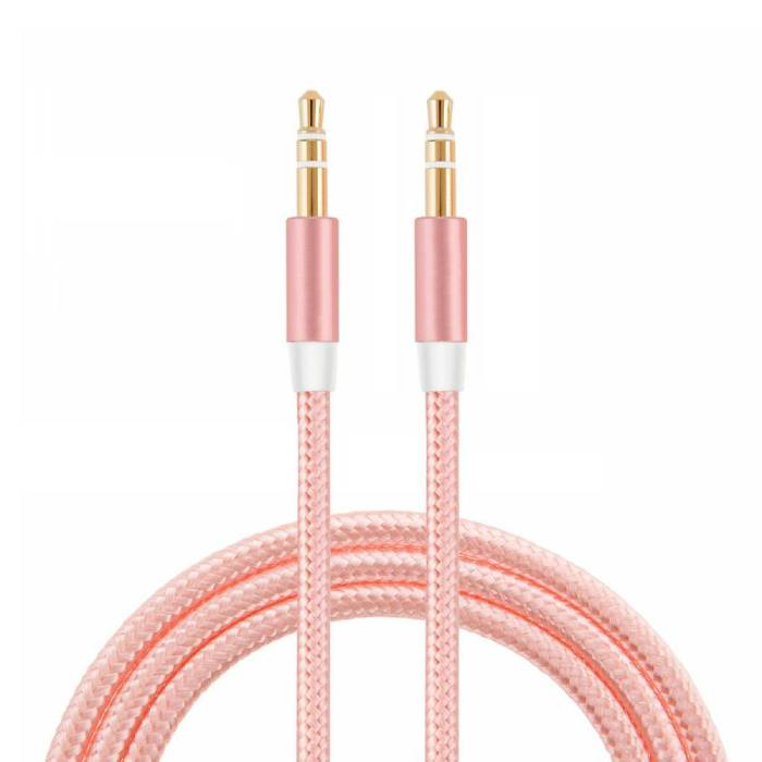 AUX Braided Nylon Aluminum Audio Cable 1 Meter Extra Strong 3.5mm Jack Pink