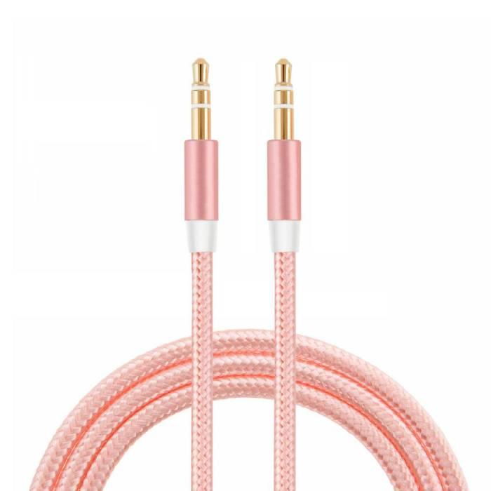 Stuff Certified® AUX Gevlochten Nylon Aluminium Audio Kabel 1 Meter Extra Sterk 3.5mm Jack Roze