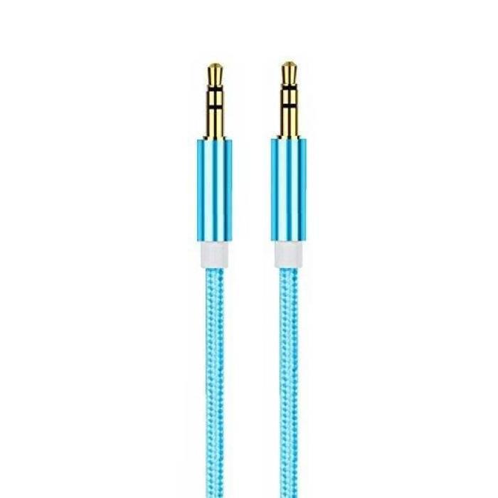 Câble audio en aluminium en nylon tressé AUX 1 mètre Jack 3,5 mm extra-fort bleu