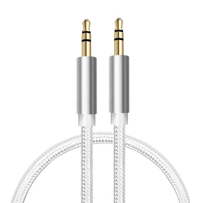AUX Gevlochten Nylon Aluminium Audio Kabel 1 Meter Extra Sterk 3.5mm Jack Wit
