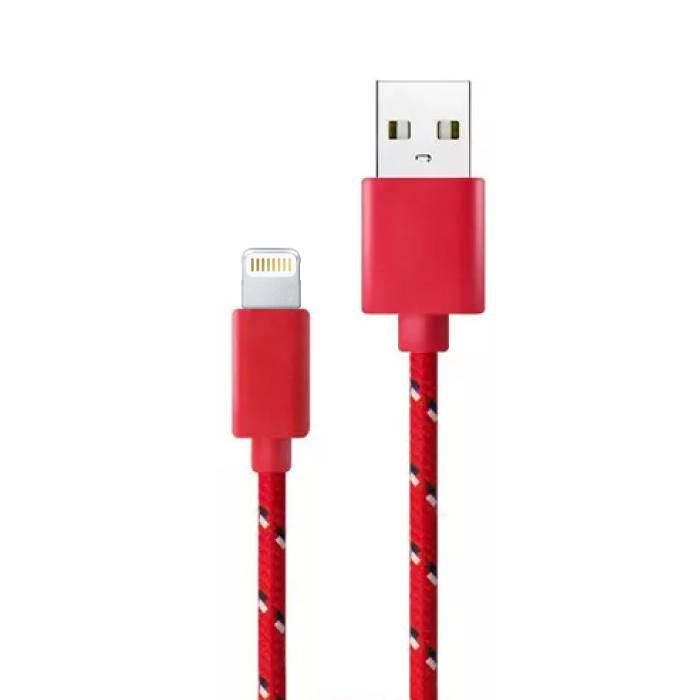 iPhone / iPad / iPod Lightning USB-Ladekabel Geflochtenes Nylon-Ladegerät Daten Kabeldaten 1 Meter rot