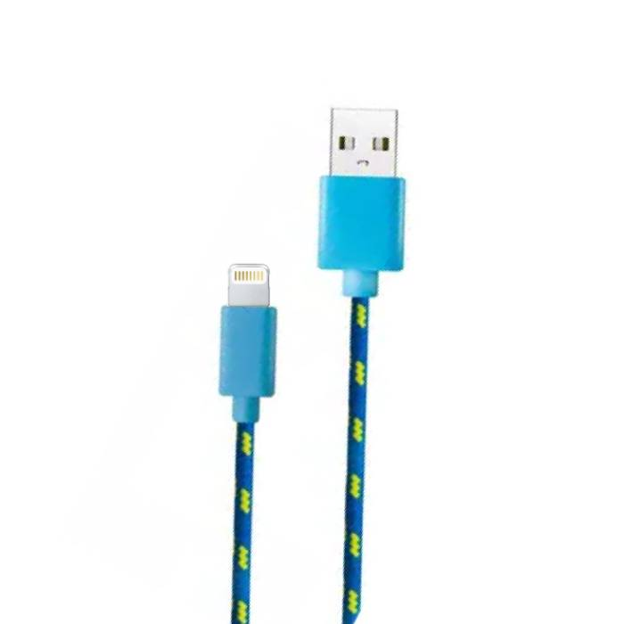 iPhone / iPad / iPod charging cable Lightning Braided Nylon Charging Data Cable 1 Meter Data Blue