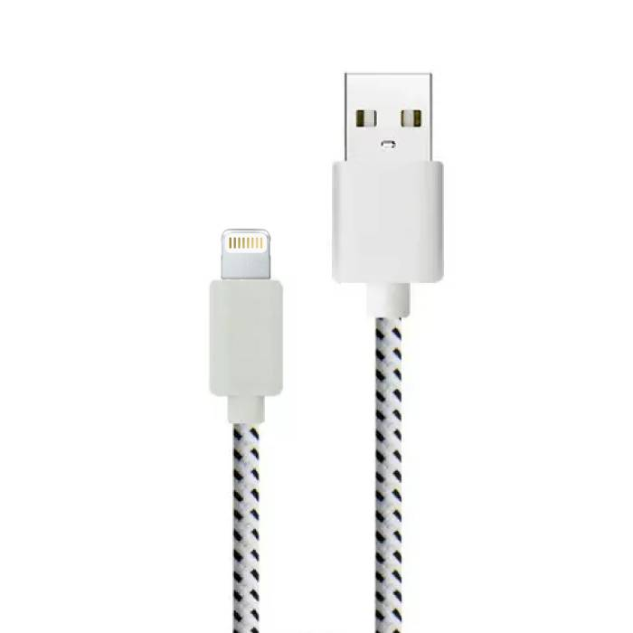 iPhone / iPad / iPod foudre Cable USB de charge en nylon tressé Cable 1 metre de données Blanc