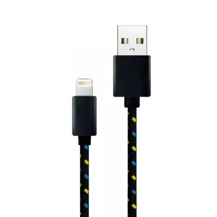 iPhone / iPad / iPod Lightning USB-Ladekabel Geflochtenes Nylon-Ladegerät Daten Kabeldaten 1 Meter Schwarz