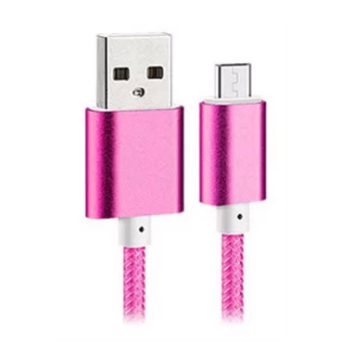 USB 2.0 - Micro-USB Cable de charge de données en nylon tressé Cable Android 1.5 metres Rose
