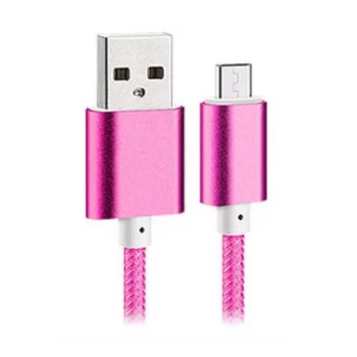 USB 2.0 - Micro-USB Charging Cable Braided Nylon Charging Data Cable Data Android 1.5 meter Pink