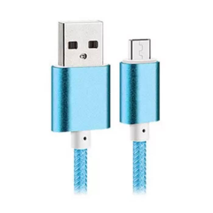 USB 2.0 - Câble de chargement micro-USB Câble de données de chargeur en nylon tressé Données Android 1,5 mètre bleu