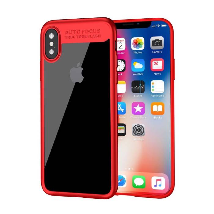 iPhone XS - Auto Focus Armor Case Cover Cas Silicone TPU Case Red