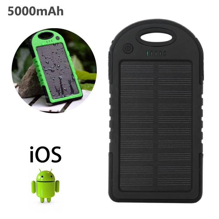 External 5000mAh Solar Charger Powerbank Solar Panel Emergency Battery Charger Black