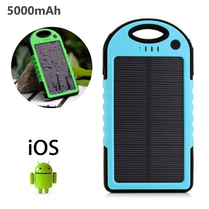 External 5000mAh Solar Charger Powerbank Solar Panel Emergency Battery Charger Blue