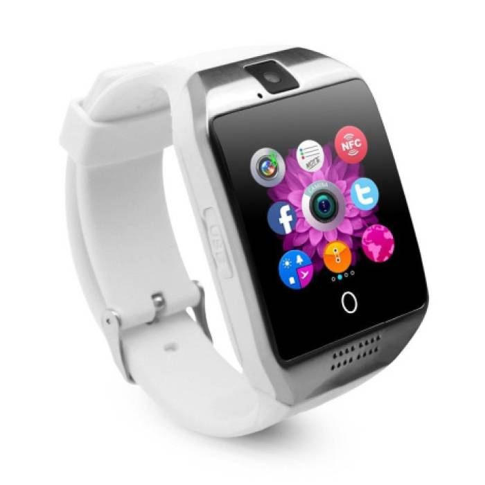 Q18 courbe SmartWatch originale HD Smartphone Fitness Sports Tracker activité Regarder OLED iOS iPhone Android Samsung Huawei Blanc