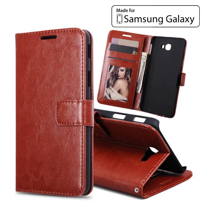 Samsung Galaxy S7 - Portefeuille en cuir flip couverture de cas Cas Porte-monnaie Marron