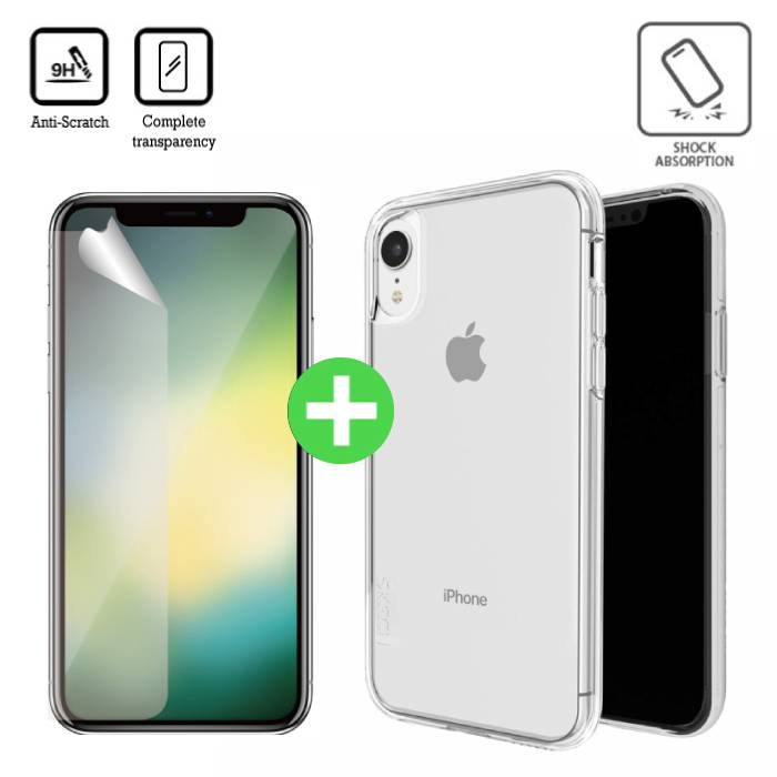 iPhone XR Transparent TPU Case + Screen Protector Tempered Glass
