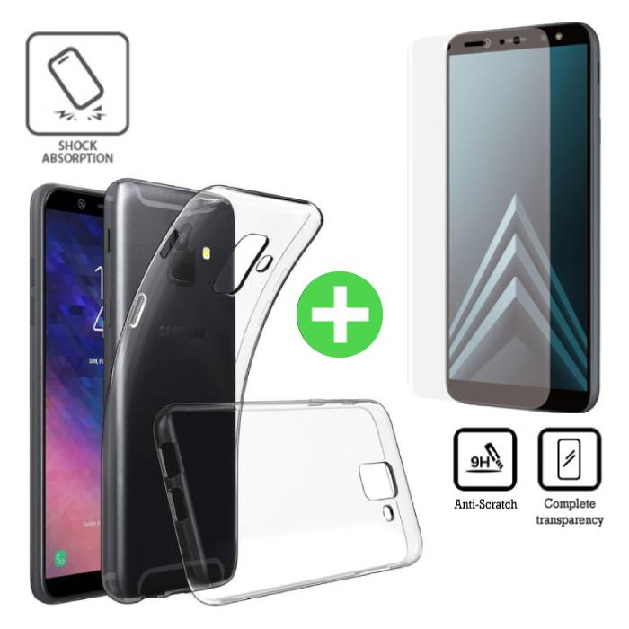 Samsung Galaxy A8 2018 Transparent TPU Case + Screen Protector Tempered Glass