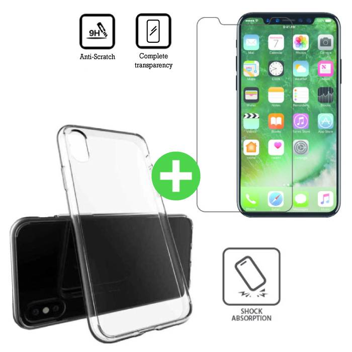 iPhone X Transparent TPU Case + Screen Protector Tempered Glass