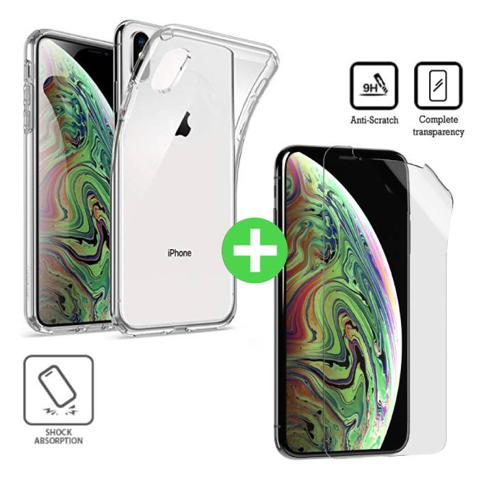 iPhone XS Max Transparent TPU Case + Screen Protector Foil