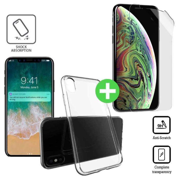 Coque en TPU Transparente pour iPhone XS + Film Protecteur d'écran