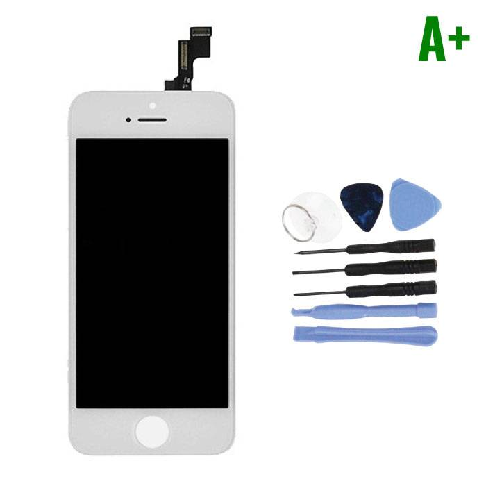 iPhone SE / 5S Screen (Touchscreen + LCD + Parts) A + Quality - White + Tools