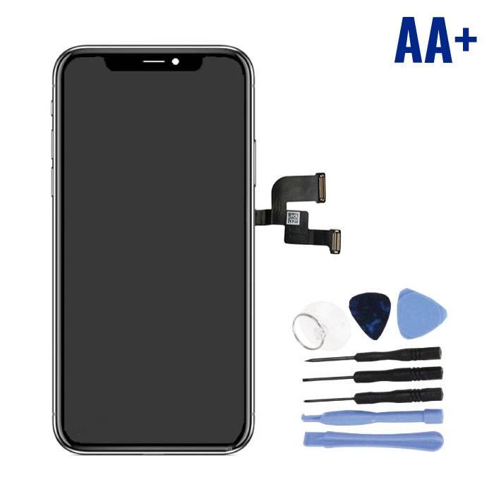iPhone X Bildschirm (Touchscreen + OLED + Teile) AA + Qualität - Schwarz + Werkzeuge