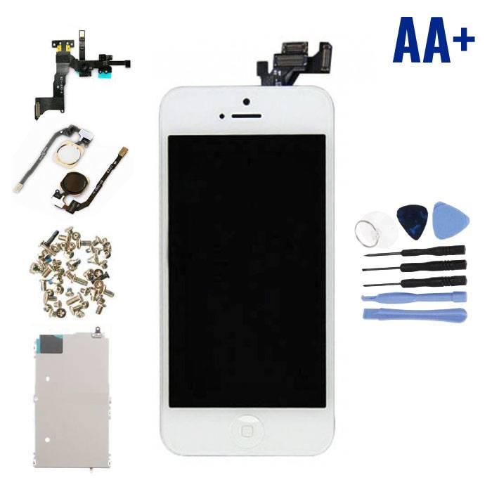 iPhone 5 Voorgemonteerd Scherm (Touchscreen + LCD + Onderdelen) AA+ Kwaliteit - Wit + Gereedschap