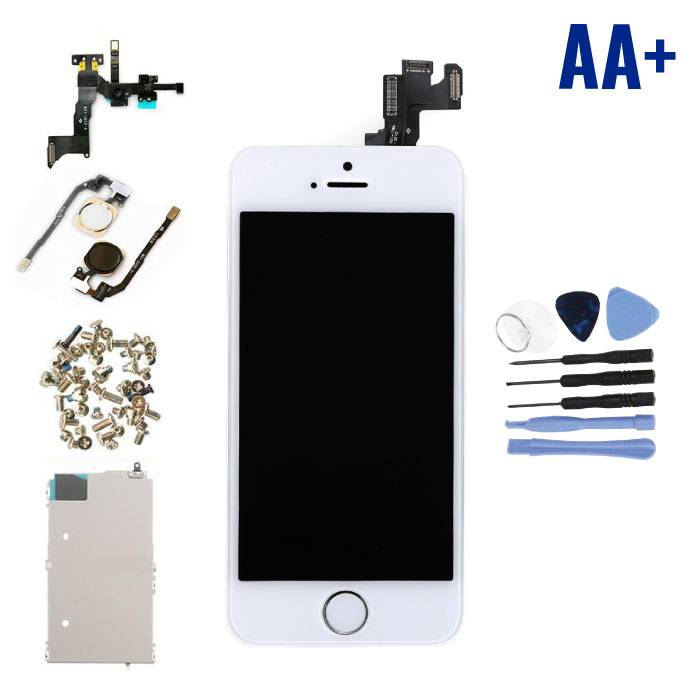 iPhone 5S Pre-assembled Screen (Touchscreen + LCD + Parts) AA + Quality - White + Tools