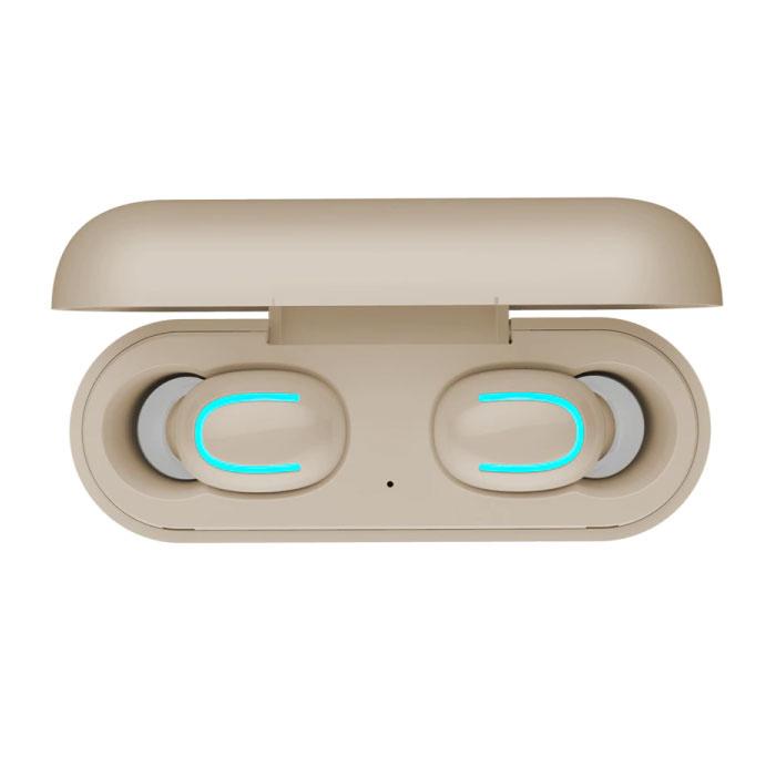 Stuff Certified ® TWS AirPower Draadloze Bluetooth 5.0 Oortjes Air Wireless Pods Earphones Earbuds Beige - Helder Geluid