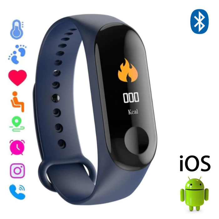 Stuff Certified ® Originele M3 Smartband Sport Smartwatch Smartphone Horloge OLED iOS Android Blauw