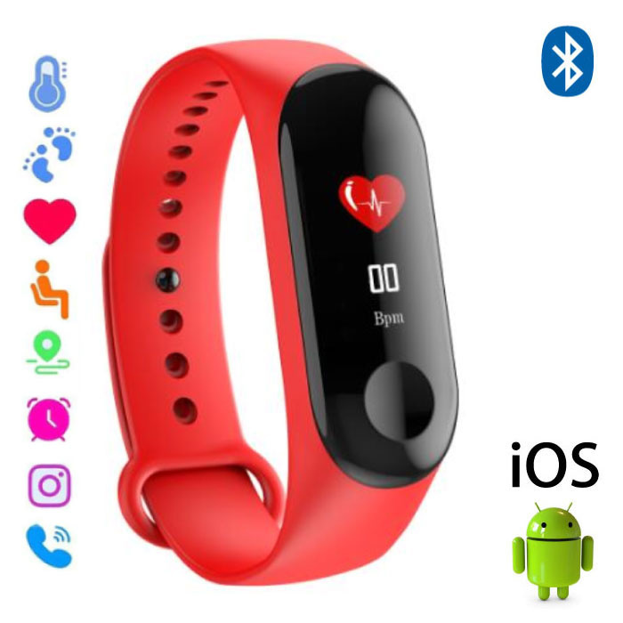 Montre d'origine M3 Smartband Sport Smartwatch Smartphone OLED iOS Android Rouge